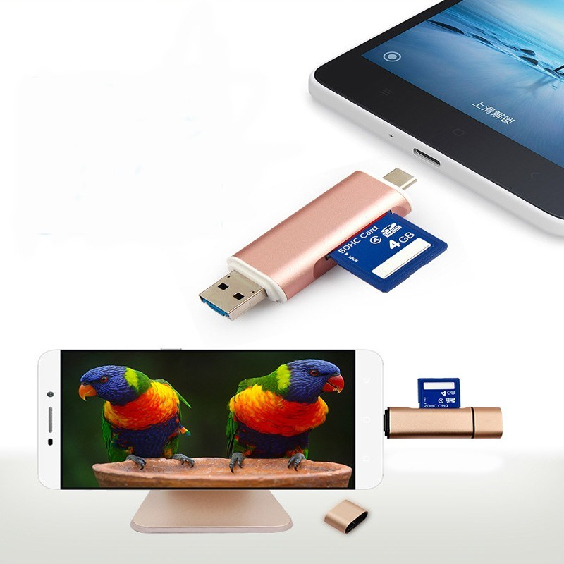 3 in 1 Multi Function USB Type C Card Reader