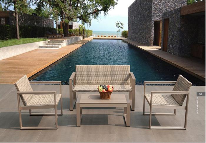 Outdoor Furniture Garden Swimming Pool Recreational Area Red Aluminum Rattan Corner Sofa