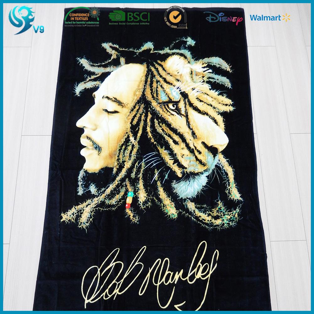 Wholesale 100% Cotton Velour Custom Design Printed Beach Towel