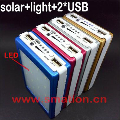 8000mAh Portable Solar Supply Outdoor Mobile Phone Battery Camping Power Bank