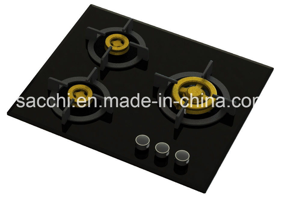 Supreme 3 Brass Burner Gas Hob (8mm Glass)