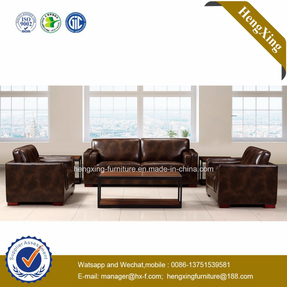 Modern Office Furniture Genuine Leather Couch Office Sofa (HX-CF009)