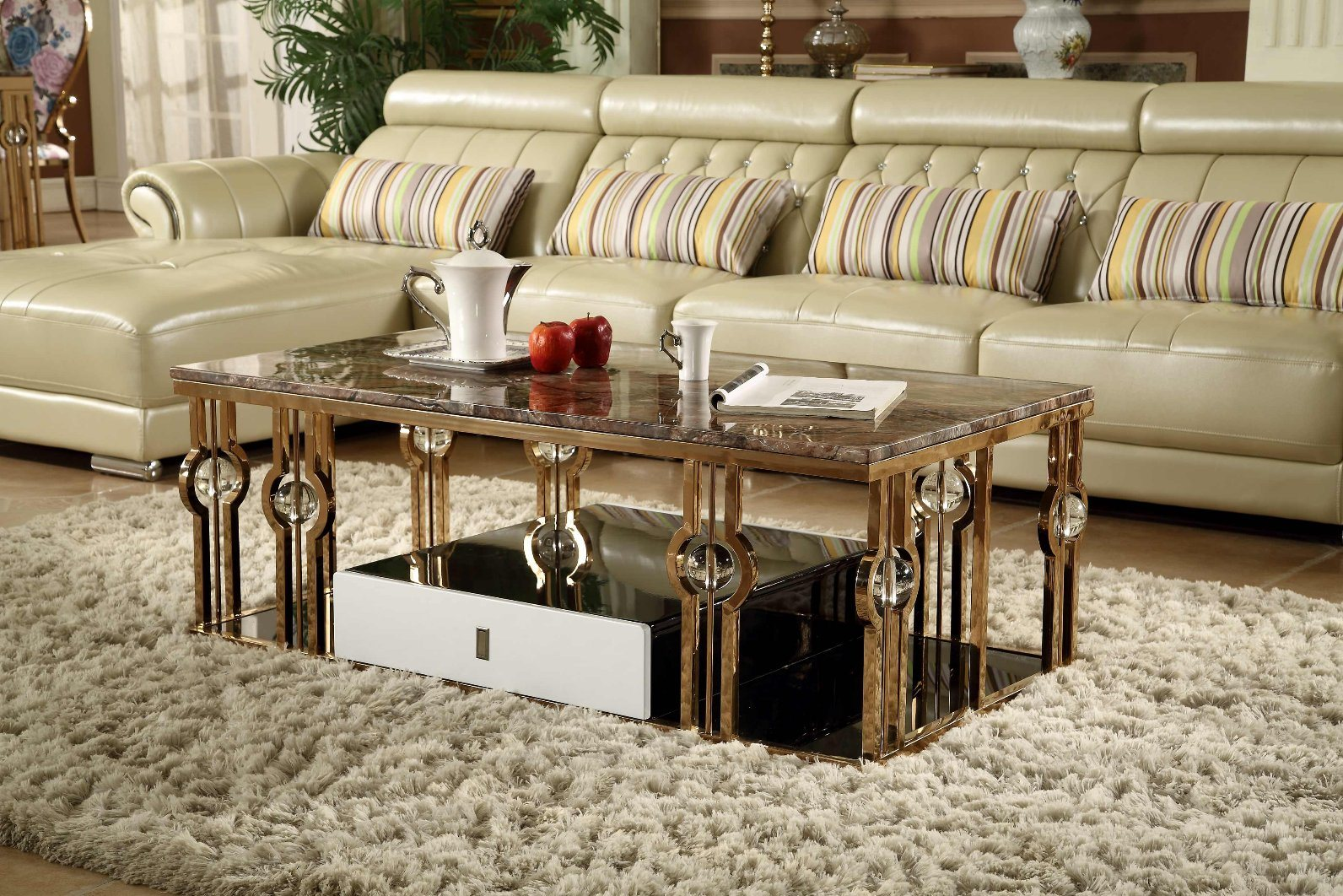 Luxury Popular Round Marble Top Coffee Table with Crystals