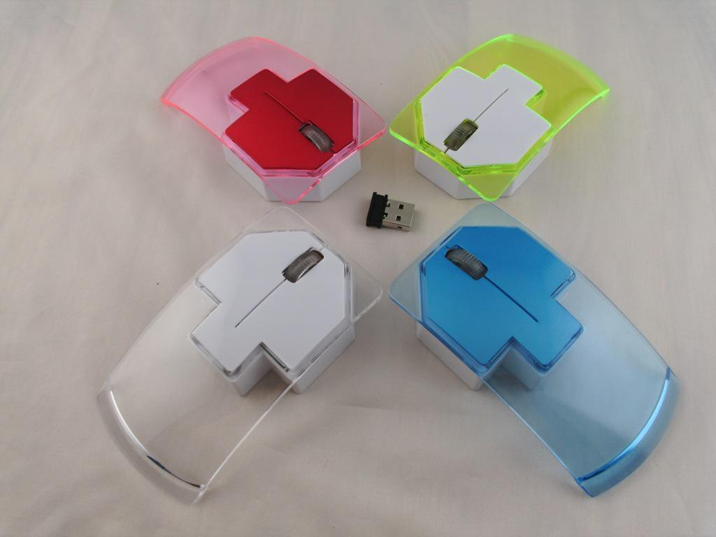 New Colorful 2.4G Crystal Wireless Arrows Computer Mouse