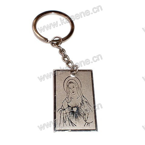 Stainless Steel Medal Pendant with Saint Mary Religious Keychain