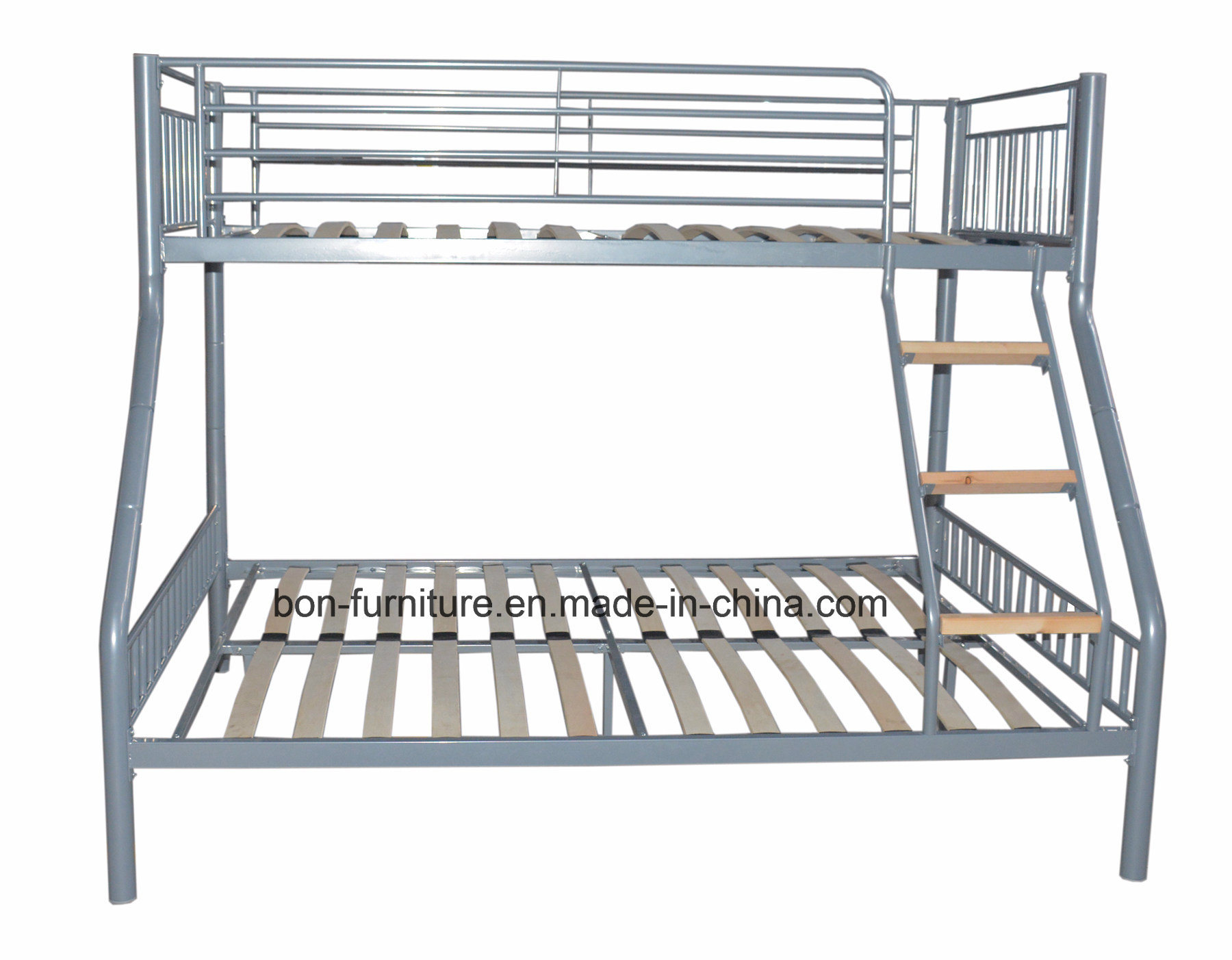Metal Triple Sleeper Bed with Wooden Slats Base