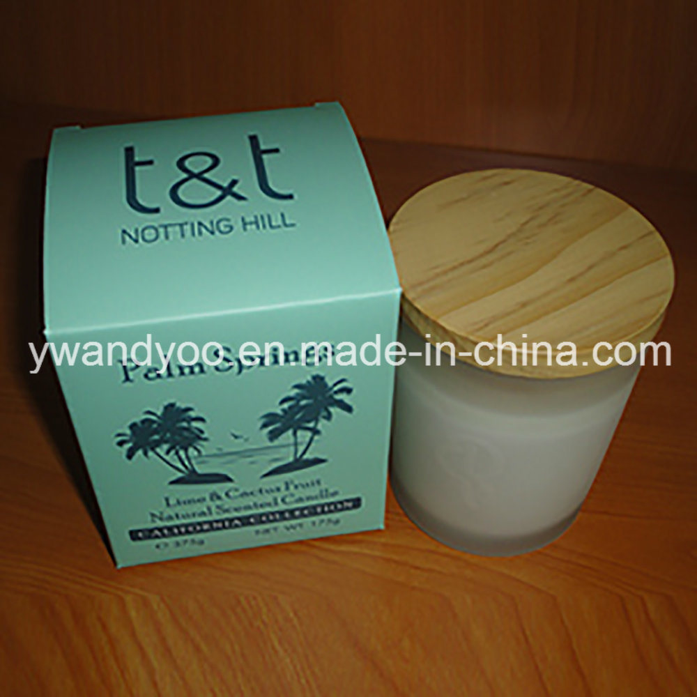 Decorative Scented Soy Candle in Frosted Glass Jar with Lid