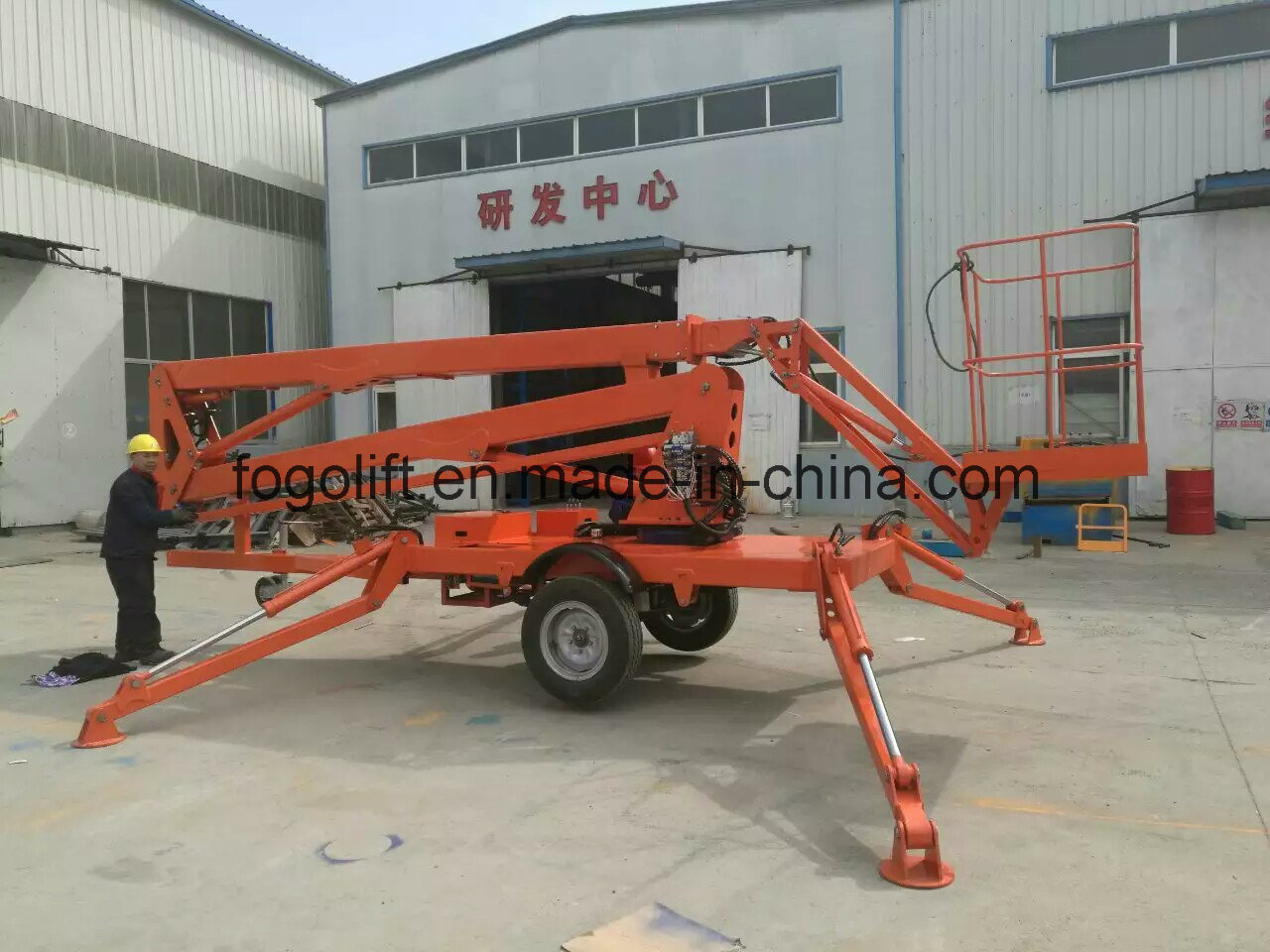 Top Sale! ! Articulated Towable Boom Lift Trailer Mounted Cherry Picker Man Lift for Sale