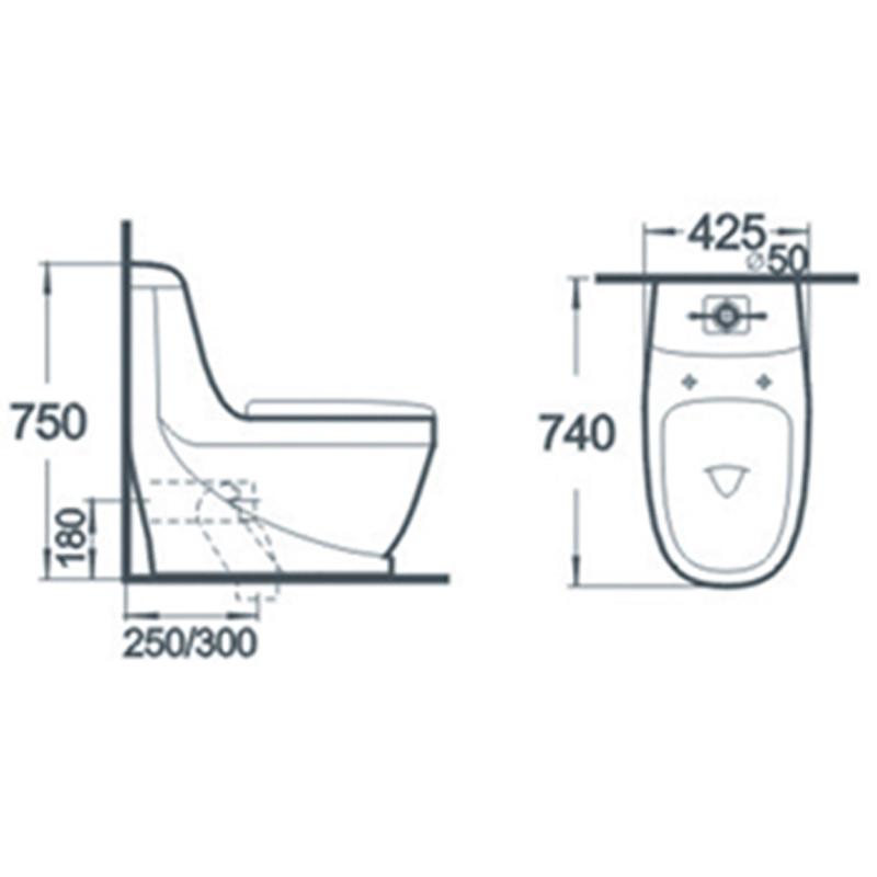 Sanitary Ware Close Stool Bathroom One Piece Ceramic Toilet