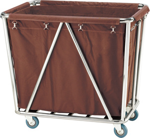 Rectangle Stainless Steel Hotel Guest Room Cleaning Hand Trolley Linen Cart With Wheels Fw 13c