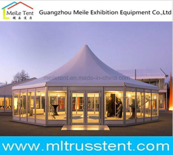 16m Diameter Glass Octagonal Pagoda Tent for 150 Person