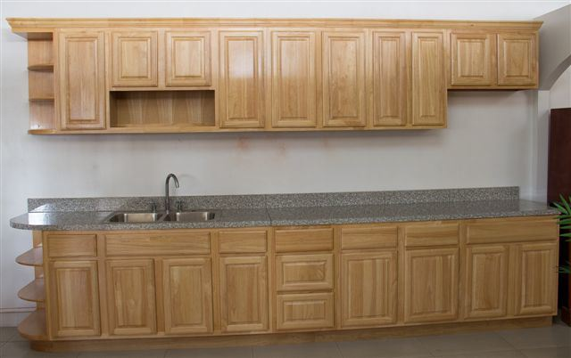 Solid Rubber Wood Kitchen Cabinet