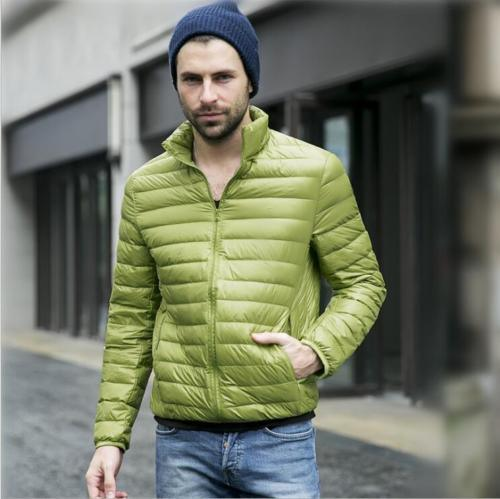 Men Winter Down Jacket Solid Silm Fit Thin Light Clothing