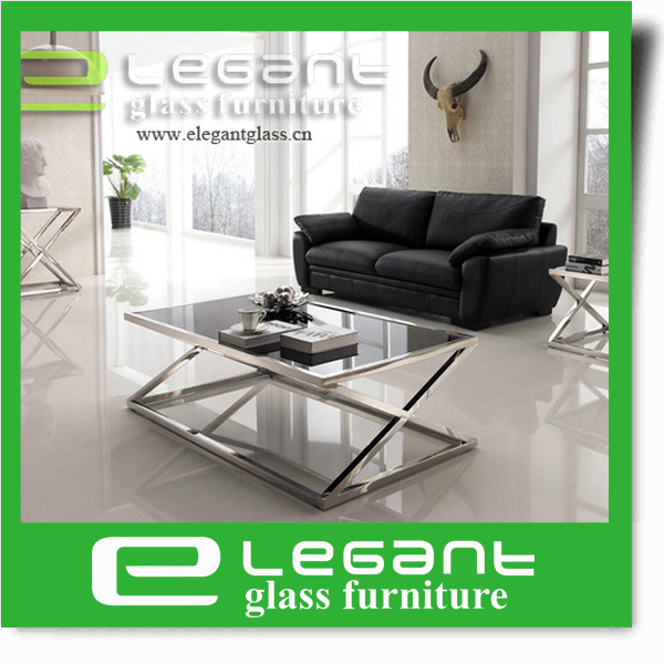 Simple Clear Tempered Glass Table on Stainless Steel Tube
