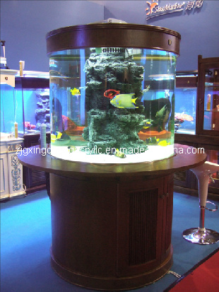 China glass fish tanks photos pictures made in for Cylindrical fish tank