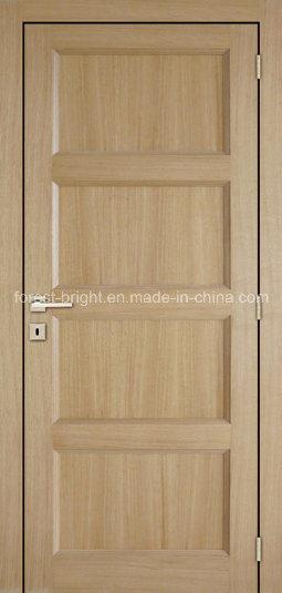4 Panels White Oak Traditional Style Veneer Wooden Door
