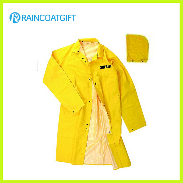 Rpp-005A Yellow Durable PVC/Polyester Long Rainwear