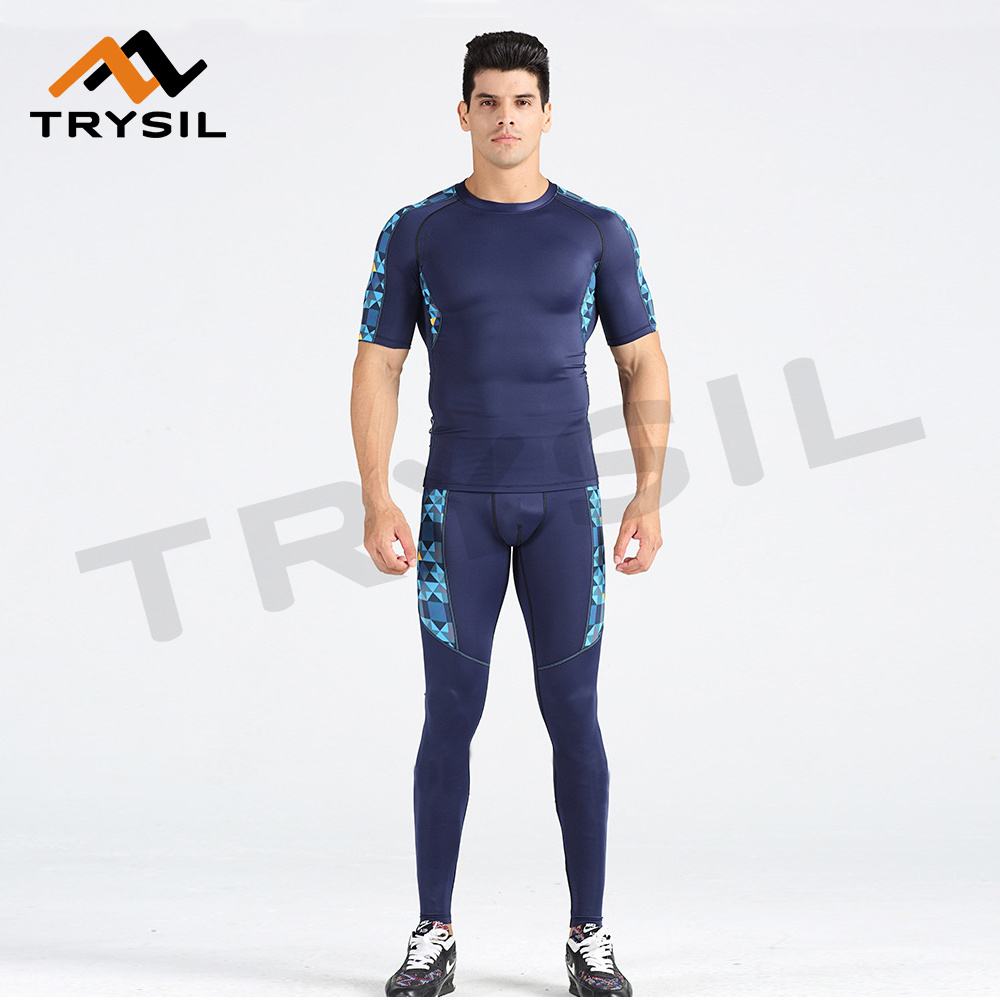 New Gym Wear Sets Tight Compression Fitness Clothes Type for Men