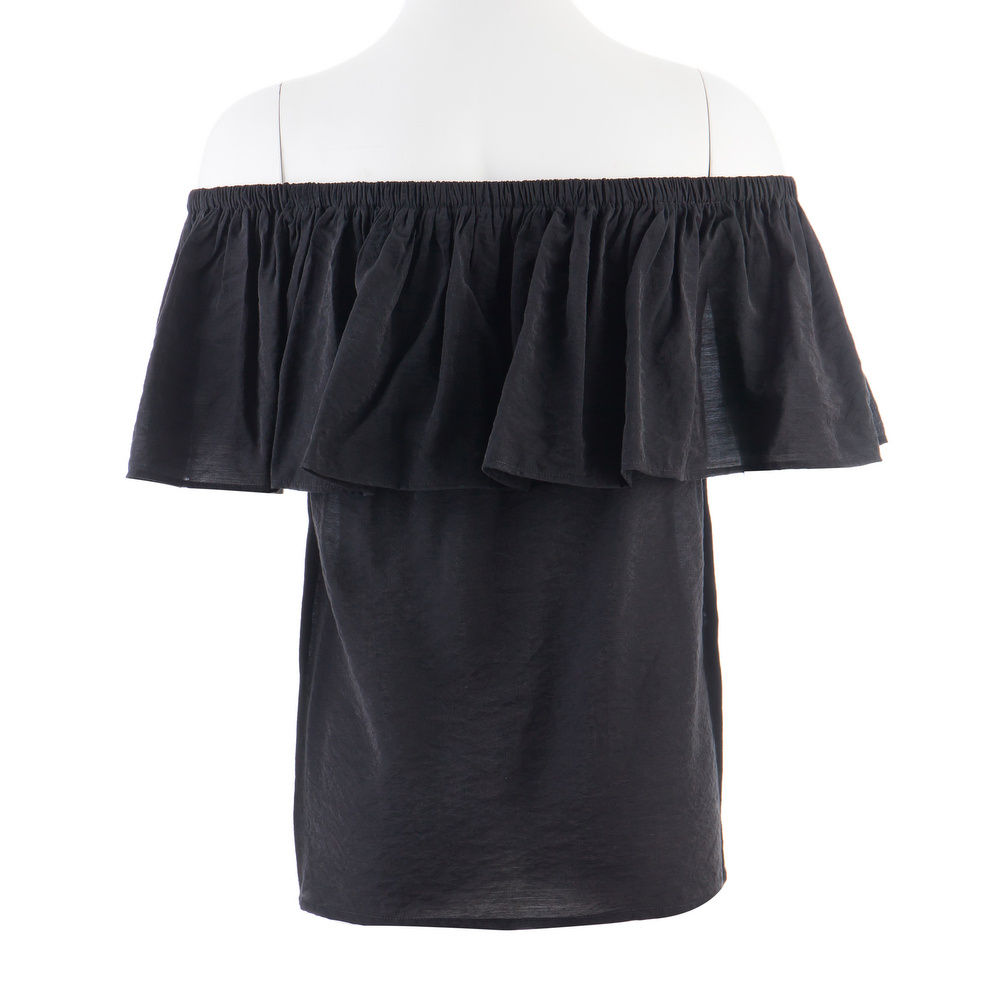 Women Tops Plain Dyed Black Rayon Frilly Strapless Blouses