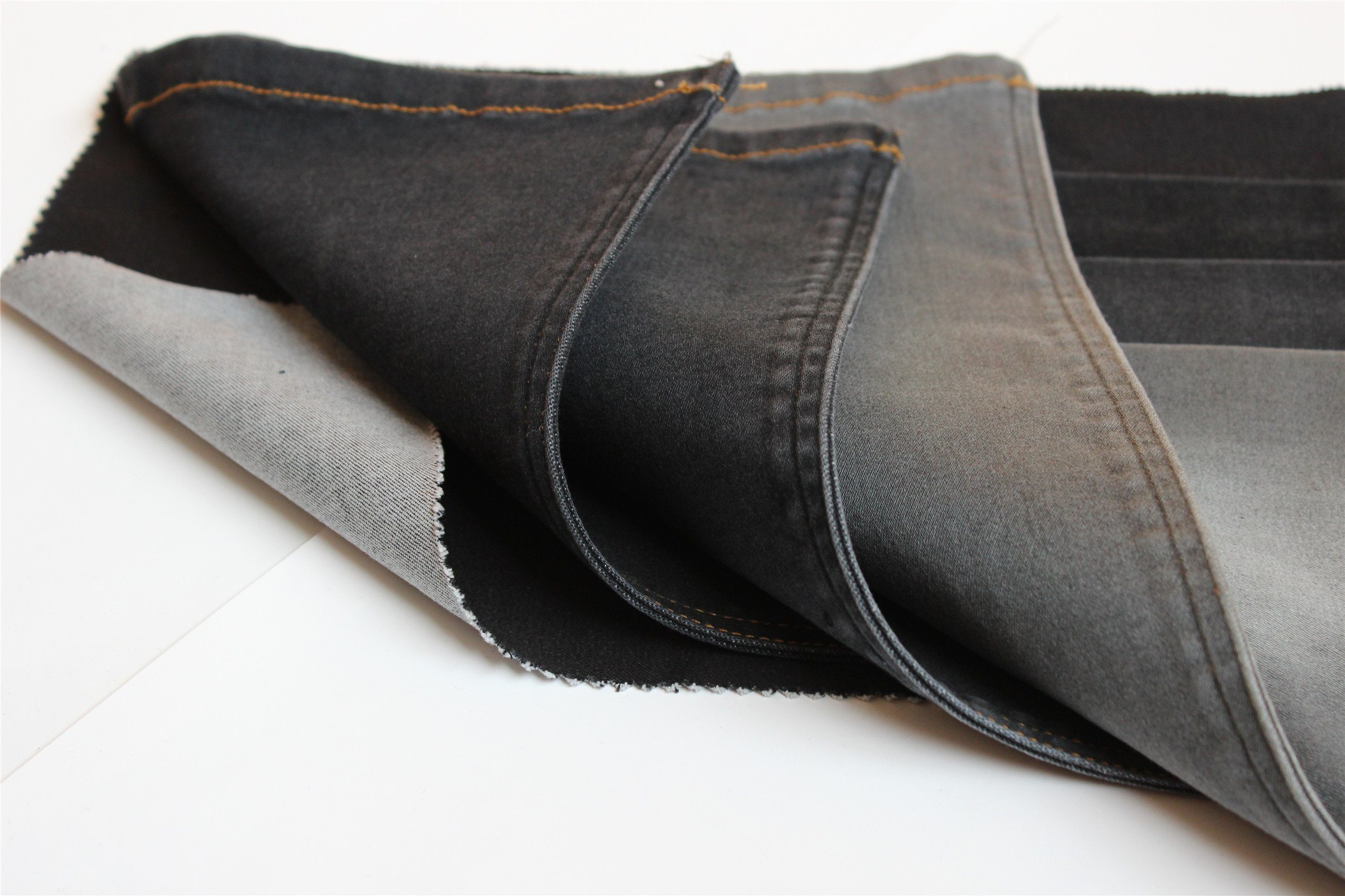 Black Color Cotton Polyester Spandex Denim