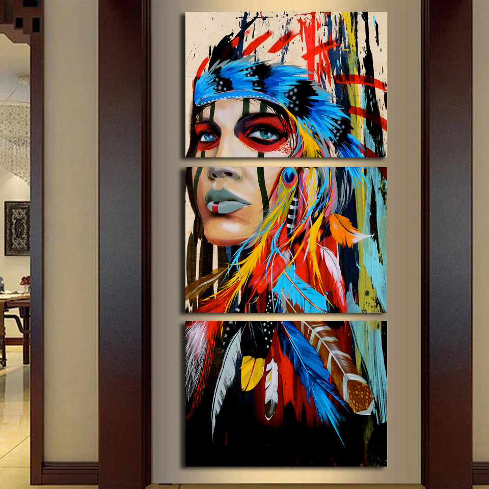 Canvas Art Printed The Indians Feathered Painting Canvas Print Room Decor Print Poster Picture Canvas Wall Art Mc-002