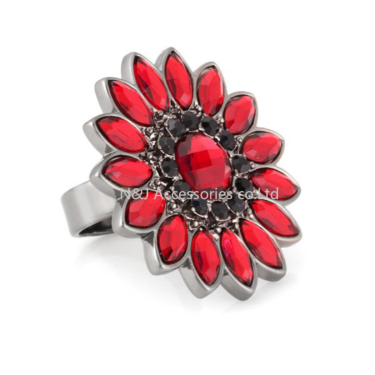 Fashion Black Diamond Red Glass Flower Rings Gun Black Alloy Ring Jewellery