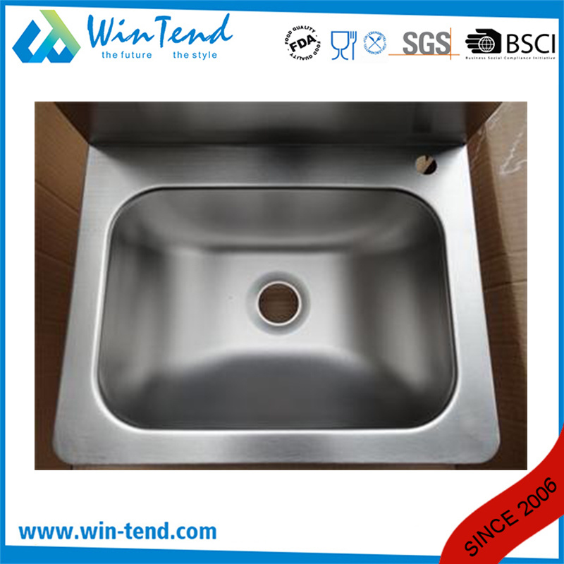 Knee Operated Faucet Water Connection Kitchen Sink Basin with Stainless Steel 18/8 Basin and Backsplash