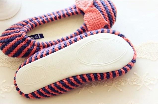 Women Knit Slipper Indoor Slipper Fotwear Pregnant Women Bow Shoes