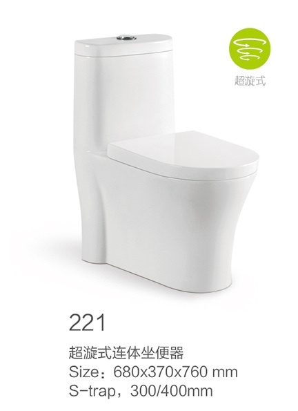 221 Siphonic One-Piece Toilet Set with Decoration