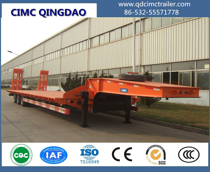Cimc 3 Axles 13m 60tons Gooseneck Lowbed Semi Trailer for Sale Truck Chassis