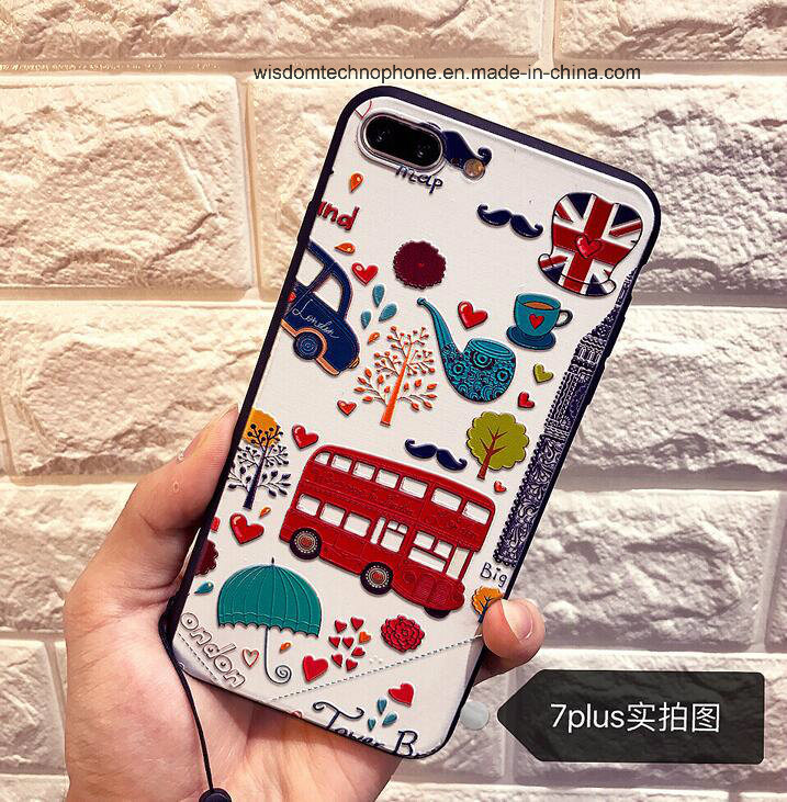 Emboss Style Silicone Cartoon Soft Shell Case for iPhone Use  with Hanging Rope