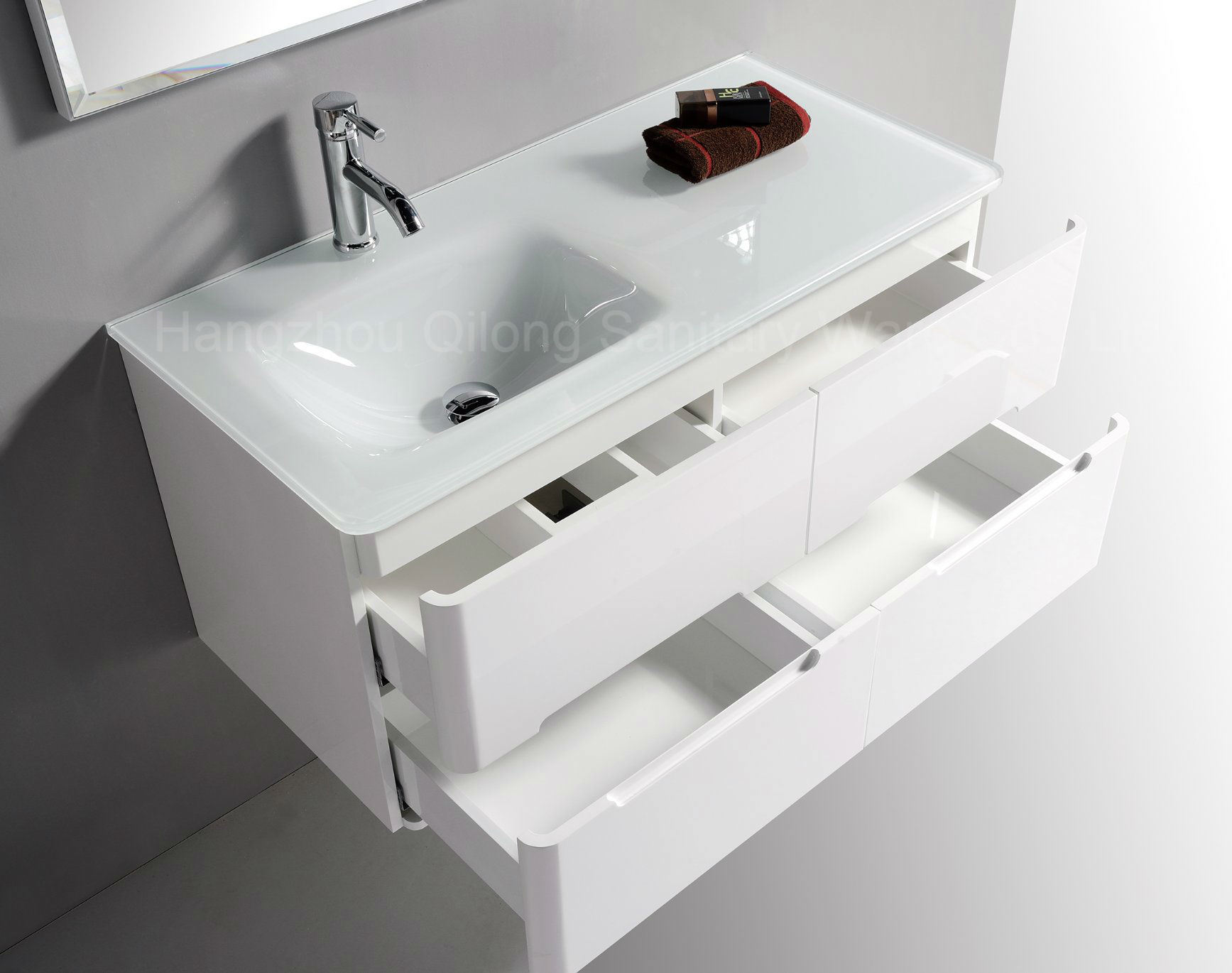 Four Drawers PVC Bathroom Cabinet with Left/ Right Basin
