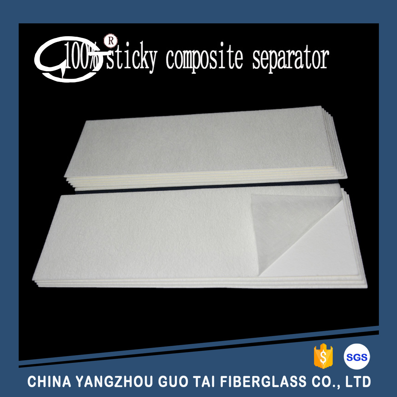 High Quality 100% Sticked Composite Fiberglass Battery Separator for Lead-Acid Battery