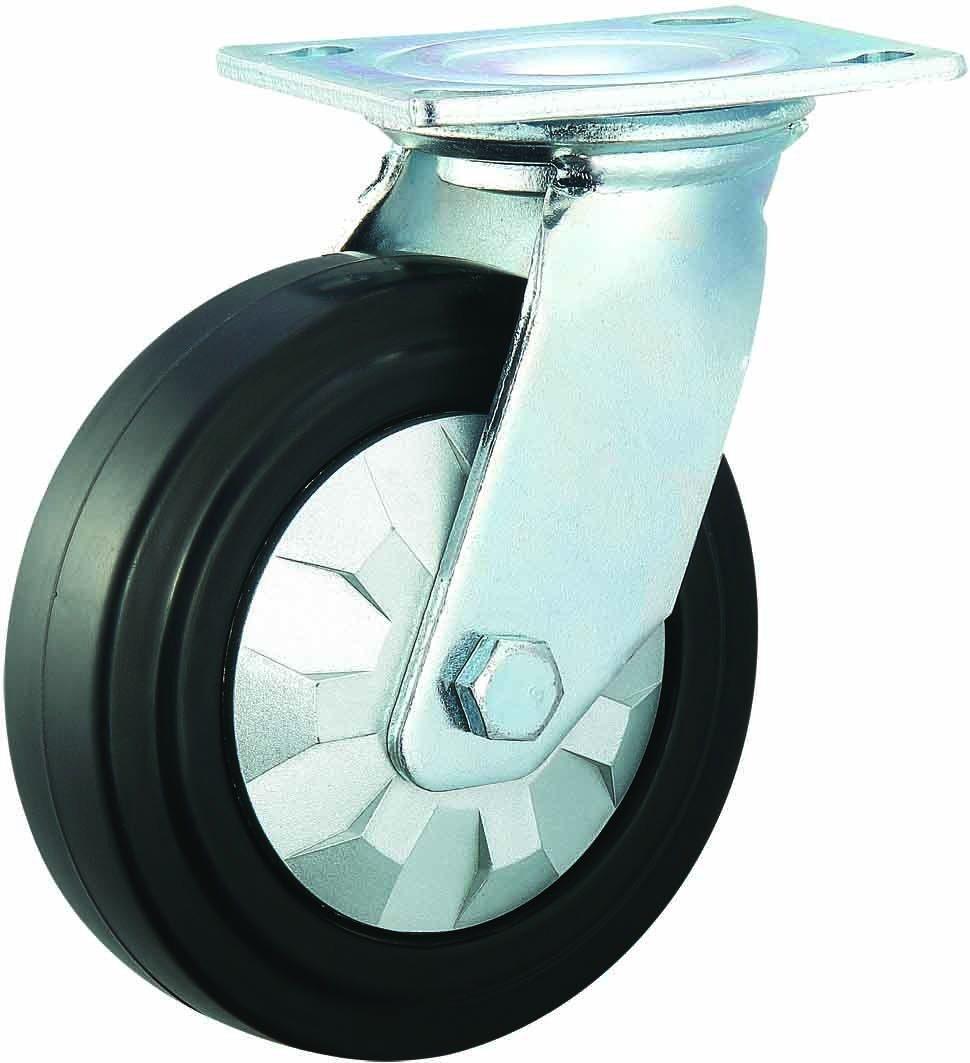 3/4/5/6/8 Inch Elastic Rubber Swivel Noiseless Castor Wheels for Trolley