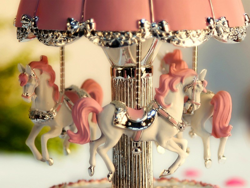 Resin Merry Go Round Carousel Music Box with LED Lighting Birthday Christmas Gifts Toys for Kids