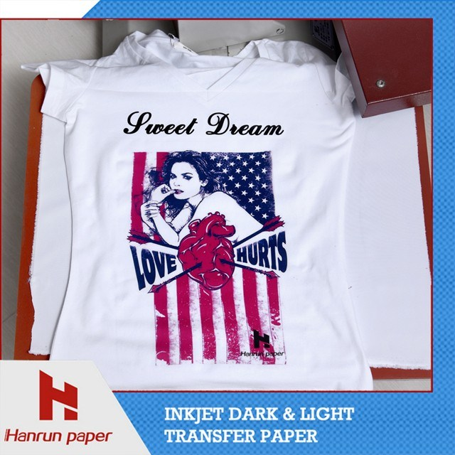 A3, A4 Sheet and Roll Inkjet PU Heat Transfer Paper for Cotton T-Shirt