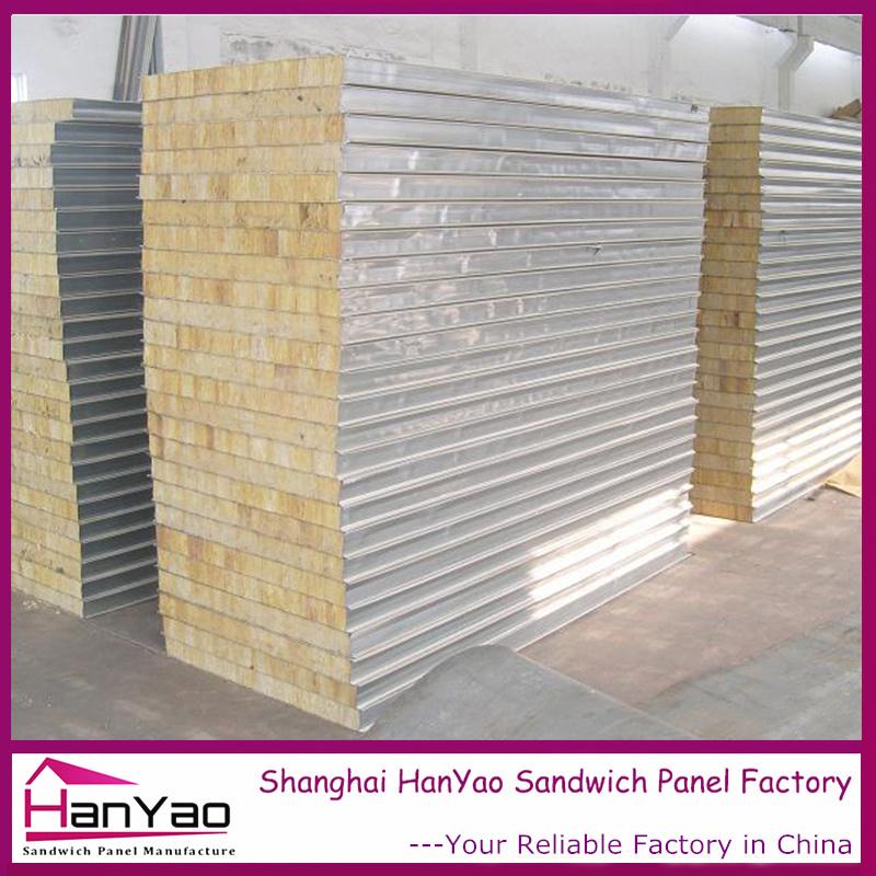 100mm/150mm/200mm Fireproof Steel Rock Wool Sandwich Panel for Wall
