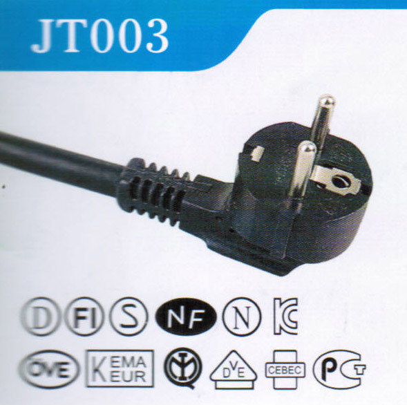 European VDE Ce Approval 250V 10A Plug with AC Power Cord (JT003)