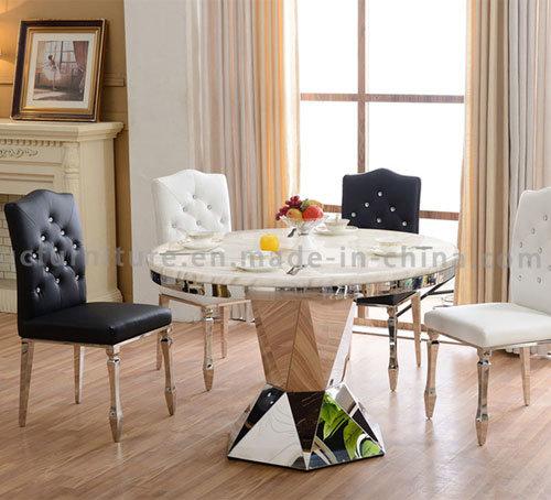 Modern Sainless Steel Stone Top Dining Table Set
