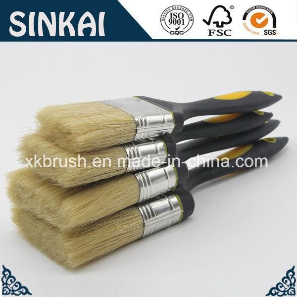 Rubber Bristle Paint Brush with White Bristle
