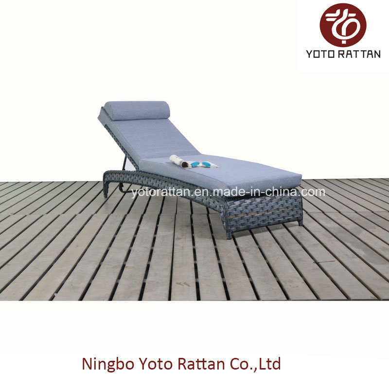 Outdoor Grey Wicker Lounger (1516)