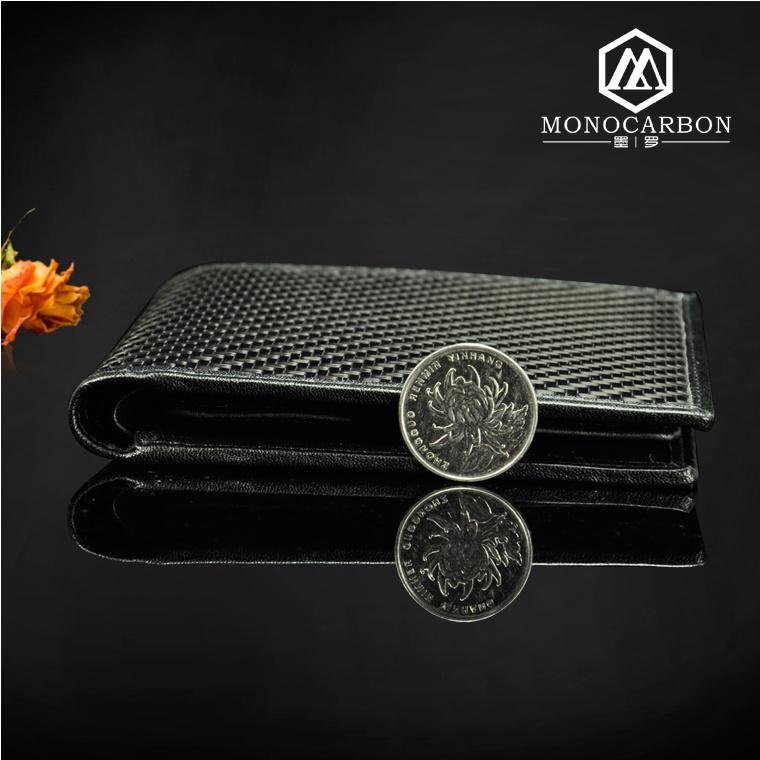 Wholesale Luxury Slim Smart Carbon Fiber Genuine Leather Wallet for Men