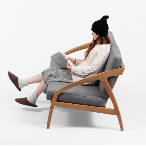Modern Oak Fabric Wooden Hotel Living Room Sofa