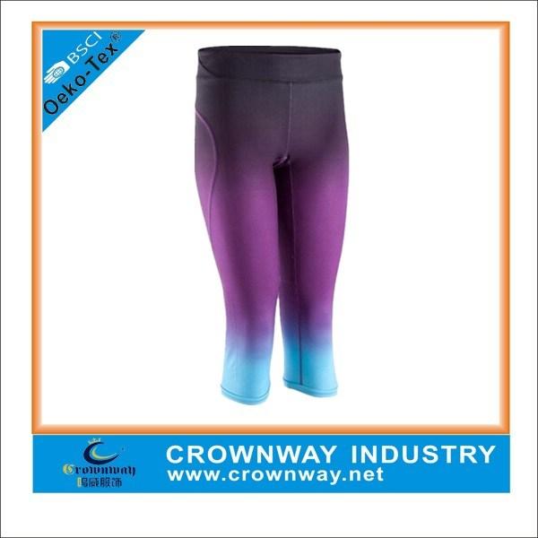 Women′s Compression Yoga Pants with Sublimation Print