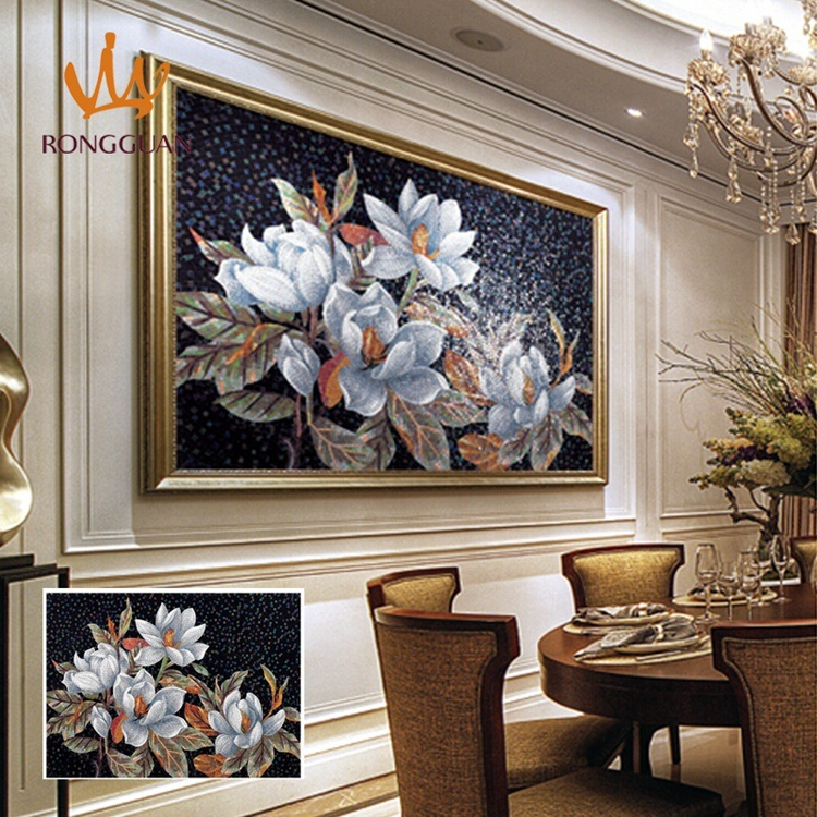 Flower Pattern Glass Mosaic Hand-Cut Design (MD1016)