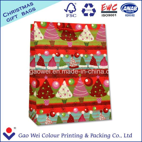 Custom Low Cost White Kraft Craft Merry Christmas Paper Bag for Gift