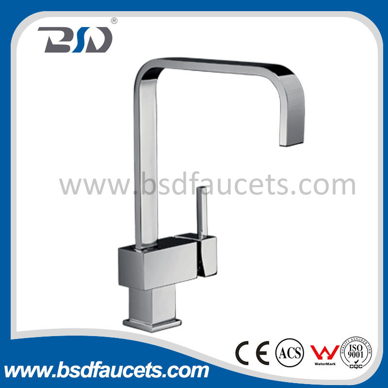 Square Kitchen Faucet Single Handle Single Hole Chrome Sink Mixer