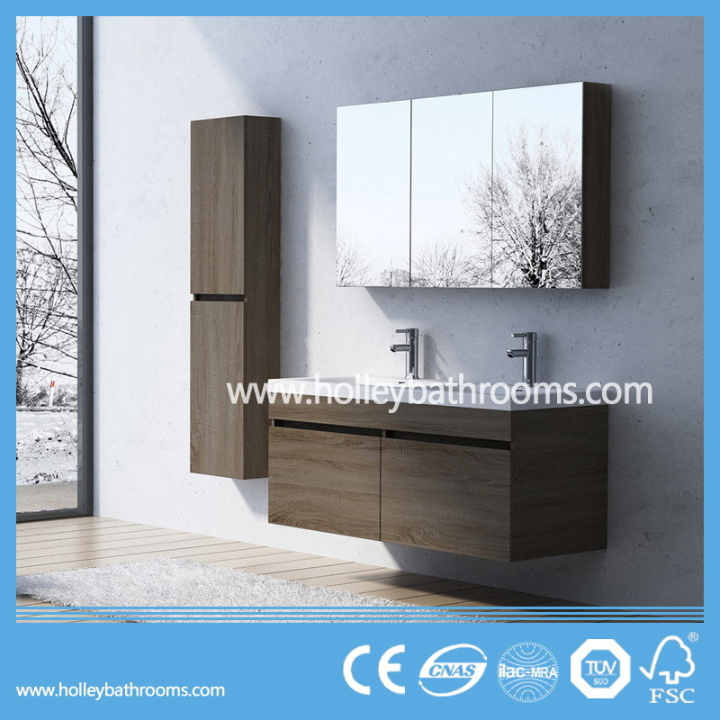 Modern Bathroom Vanities Set with Two Basins and Side Cabinets (BF126N)
