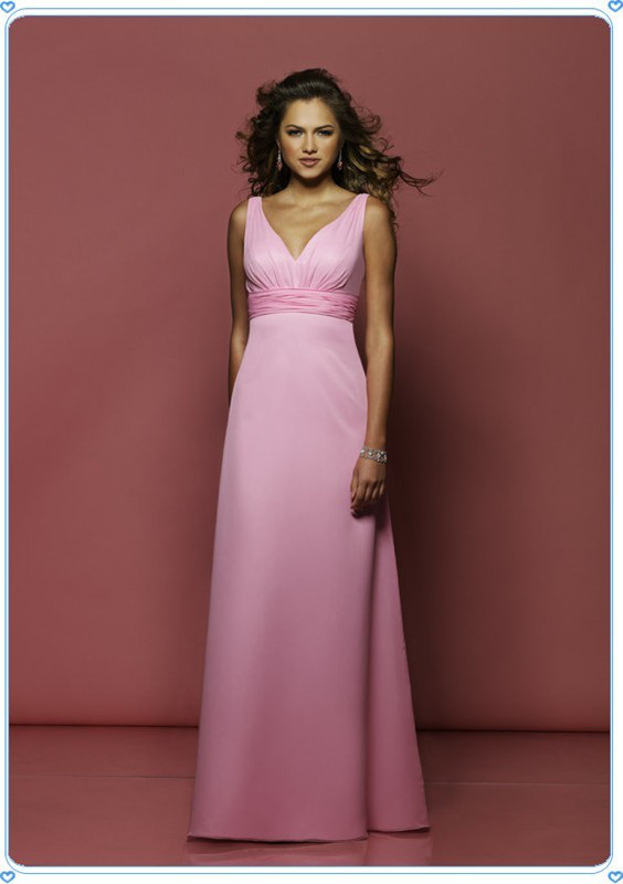 Floor Length Pink Gorgeous V Neck Evening Party Dresses