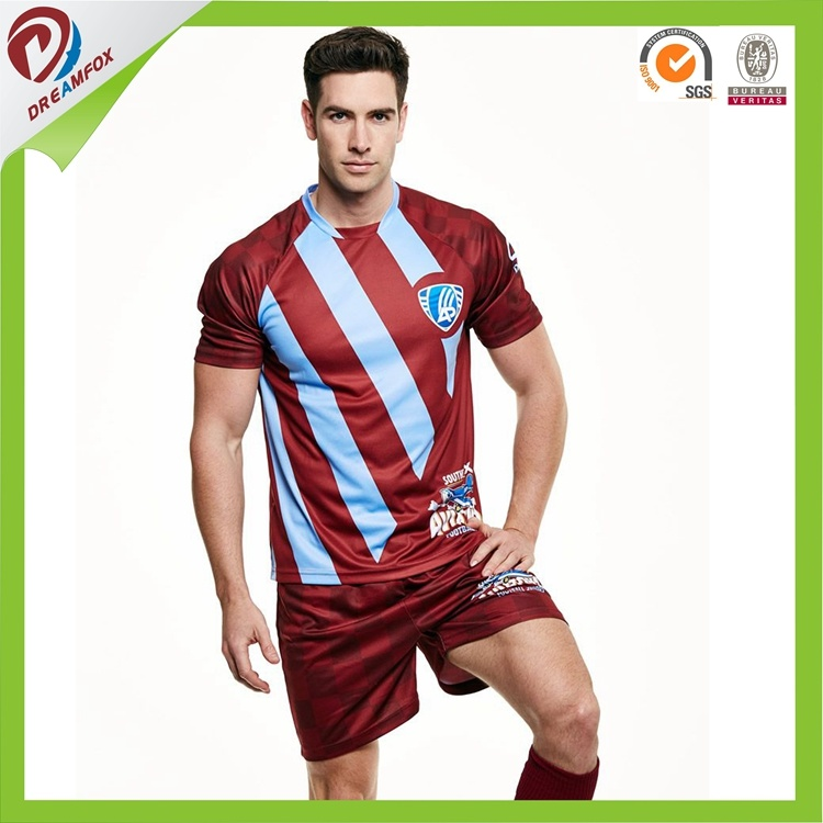 2017 Hot Selling Customized 100% Polyester Team Sublimated Soccer Uniforms Kit